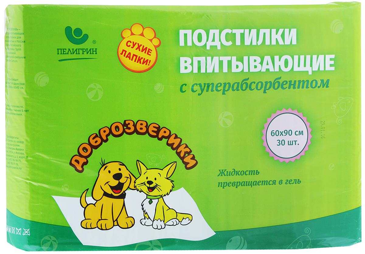 Подстилки для домашних животных  Доброзверики , впитывающие, с суперабсорбентом, 60 х 90 см, 30 шт - Средства для ухода и гигиены