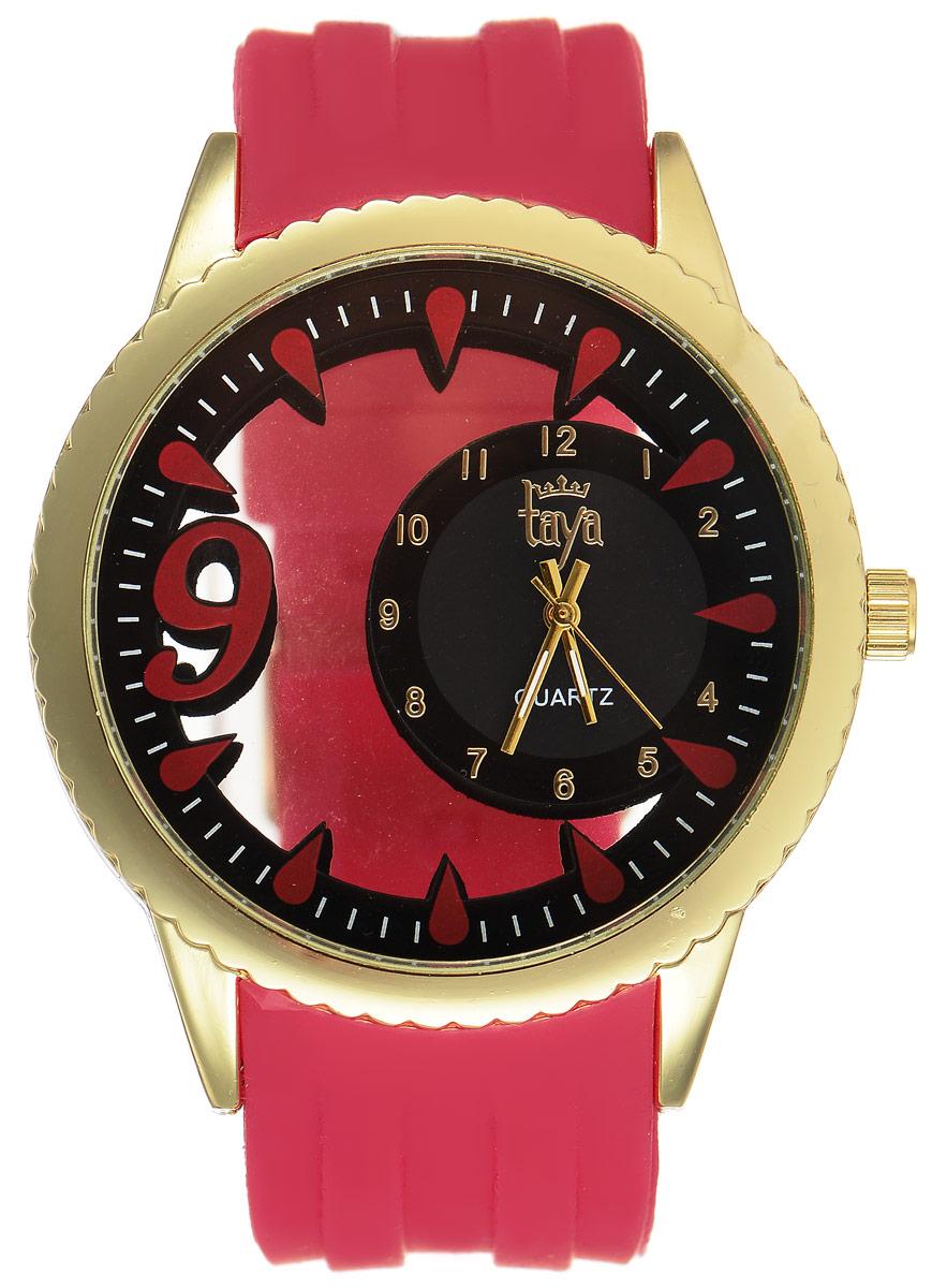 Часы наручные женские Taya, цвет: золотистый, красный. T-W-0246