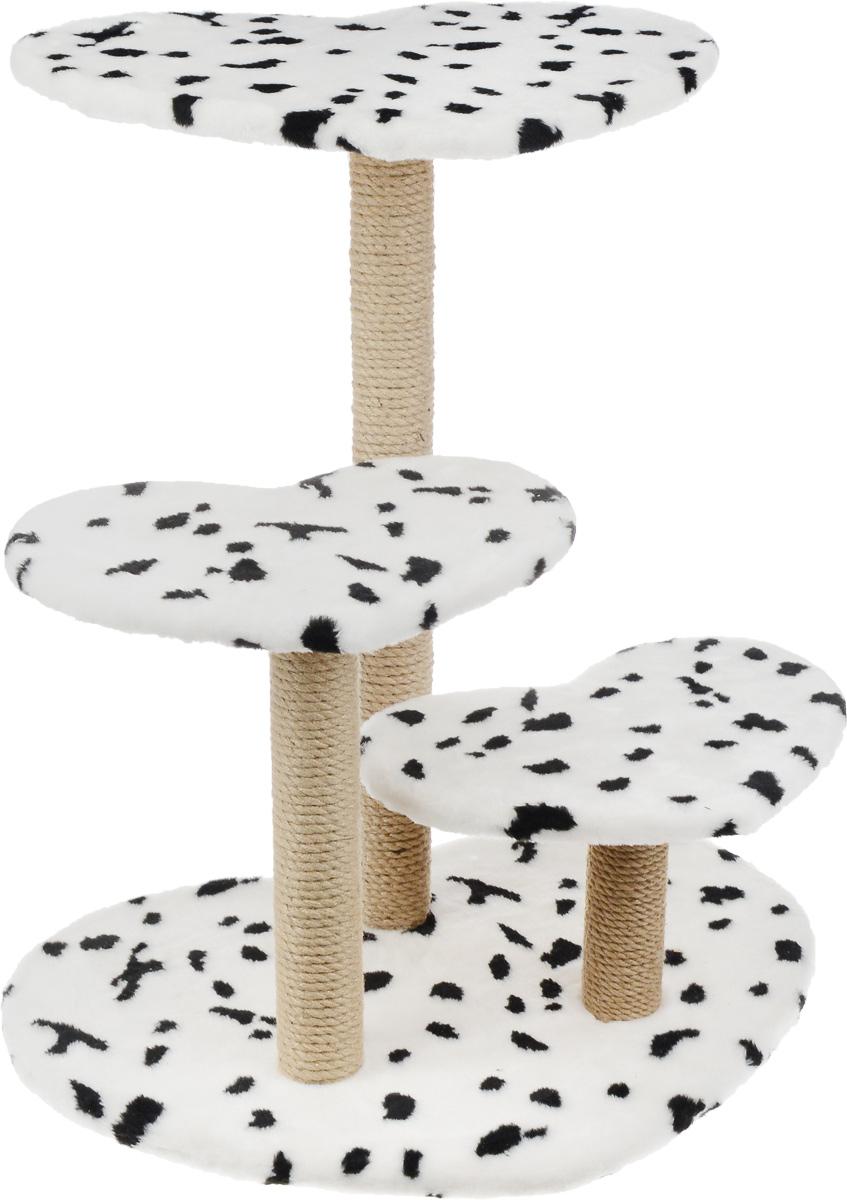 Когтеточка Меридиан Сердца, с 3 полками, цвет: белый, черный, бежевый, 66 х 45 х 75 смК511 ДКогтеточка Меридиан Сердца поможет сохранить мебель и ковры в доме от когтей вашего любимца, стремящегося удовлетворить свою естественную потребность точить когти. Когтеточка изготовлена из ДСП, искусственного меха и джута. Товар продуман в мельчайших деталях и, несомненно, понравится вашей кошке. Имеется 3 полки.Всем кошкам необходимо стачивать когти. Когтеточка - один из самых необходимых аксессуаров для кошки. Для приучения к когтеточке можно натереть ее сухой валерьянкой или кошачьей мятой. Когтеточка поможет вашему любимцу стачивать когти и при этом не портить вашу мебель.Общий размер: 66 х 45 х 75 см.Размер малых полок: 40 х 30 см.Размер большой полки: 53 х 39 см.Высота полок: 21 см, 41 см, 75 см.