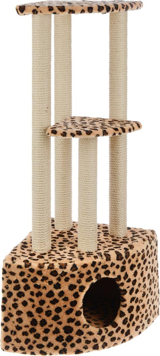 Игровой комплекс для кошек Меридиан, 3-ярусный, угловой, с домиком и когтеточкой, цвет: коричневый, черный, бежевый, 42 х 42 х 110 см бар декоративный глобус цвет коричневый 42 х 42 х 85 см