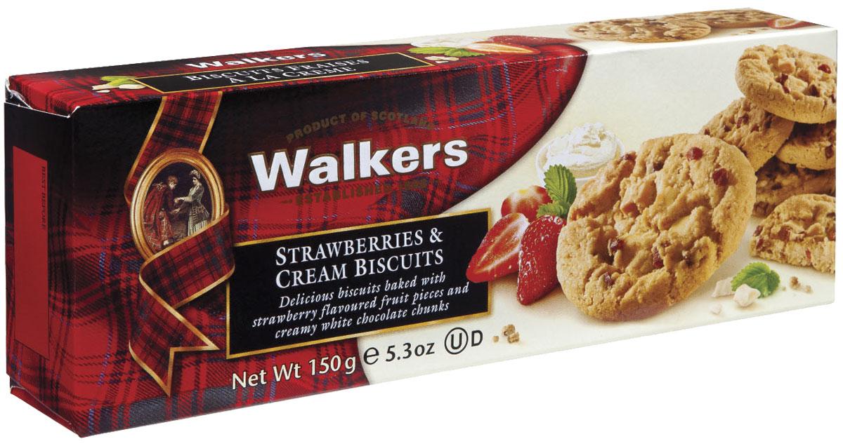 Walkers печенье с клубникой и сливками, 150 г печенье фитнес купить