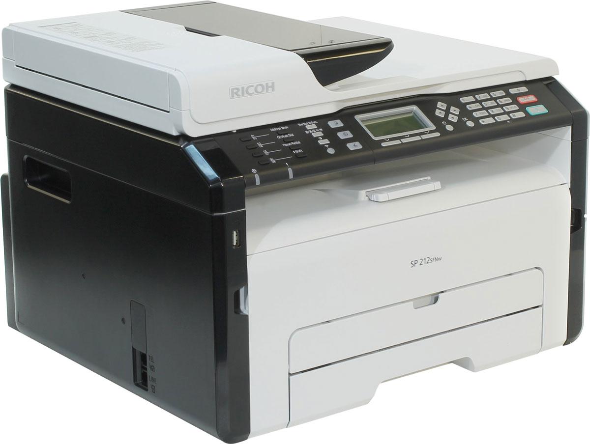 Ricoh SP 212SFNw МФУ407684Ricoh SP 212SFNw просто создан для малых и домашних офисов благодаря эффективной комбинации функций печати, копирования, сканирования и безбумажного факса. Ручная двусторонняя печать и перезаправляемый картридж обеспечивают высокую экономичность и экологичность устройства. Высокая скорость печати (22 стр./мин) повышает производительность, а поддержка проводного и беспроводного подключения упрощает работу. Компактные размеры позволяют без труда разместить это МФУ на рабочем столе.