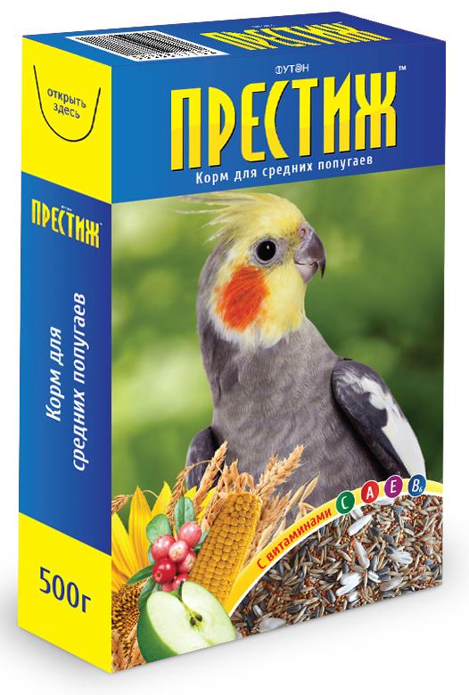 Корм для средних попугаев Престиж, 500 г4627092860020Корм Престиж для средних попугаев - это готовая к употреблению зерносмесь из семян и зерна, выращенных в открытом грунте. Содержит все необходимые витамины и микроэлементы для нормального развития и жизни птицы, содержащейся в домашних условиях.Рекомендации по кормлению: одна – две столовые ложки зерносмеси в день на одну птицу.Полноценное кормление - это основа благополучия ваших питомцев: их самочувствия, привлекательной внешности, громкого пения и, наконец, успешного размножения.Состав: просо, овес, льняное семя, кукуруза, семена подсолнечника, канареечное семя, полосатые семена, сушеные овощи и фрукты, витамины.Товар сертифицирован.