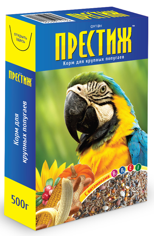 Корм для крупных попугаев Престиж, с витаминами, 500 г корм для крупных попугаев вака high quality 500 г 54913