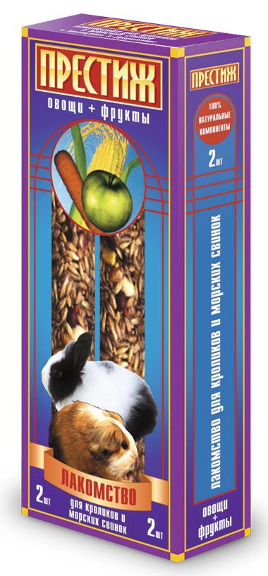 Лакомство для морских свинок и кроликов Престиж, палочки с овощами и фруктами, 2 шт верселе лага лакомство палочки c фруктами для кроликов и морских свинок versele laga crispy sticks fruit 55 г