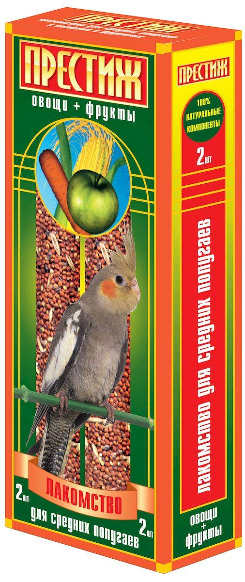 Лакомство для средних попугаев Престиж, палочки с овощами и фруктами, 2 шт4627092860693Лакомство Престиж для средних попугаев в виде жестких палочек с овощами и фруктами, является отличным и полезным кормом для вашего питомца. Лакомство обладает достаточной жесткостью, что способствует обязательному стачиванию и очищению клюва попугая, а так же вызывает особый интерес добывание пищи самостоятельно, отщепляя зерна с палочки.Состав: просо красное, просо белое, просо желтое, овес, льняное семя, кукуруза, семена подсолнечника, канареечное семя, полосатые(турецкие) семена подсолнечника, овощи, фрукты, витамины.Товар сертифицирован.