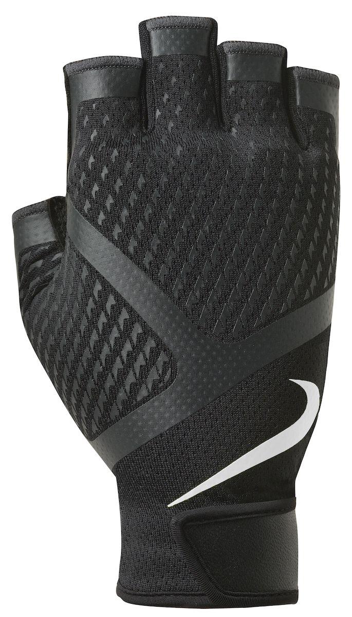 Мужские перчатки для зала Nike, цвет: черный, белый. Размер L