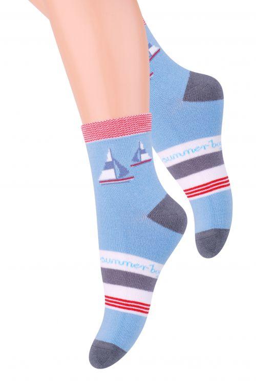 Носки для мальчика Steven, цвет: голубой, серый, белый. 014 (CG146). Размер 32/34, 7-9 лет014 (CG146)/014 (CF146)/014 (CE146)Хлопковые носки для мальчика Steven отлично подойдут для повседневной носки.Они изготовлены из высококачественного материала, очень мягкие на ощупь, не раздражают даже самую нежную и чувствительную кожу. Оформлено изделие цветными полосками и рисунком с изображением корабликов. Такие носки послужат замечательным дополнением к детскому гардеробу!