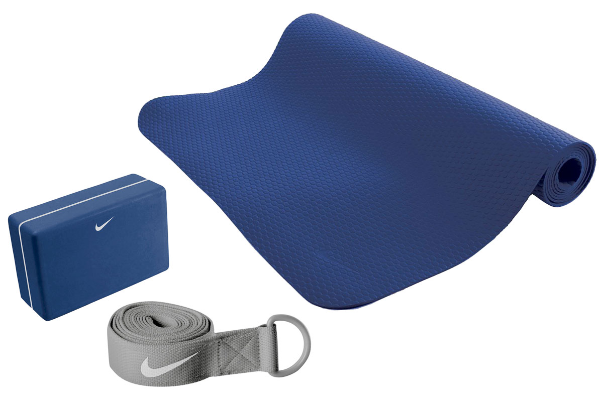 Набор для йоги Nike, цвет: синий, серый, 3 предмета коврик для йоги 173х61х0 7 см серый hkem1205 07 grey