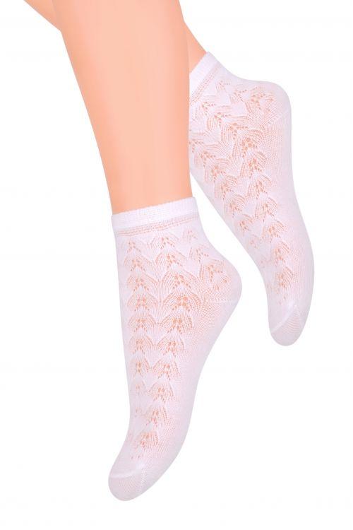 Носки ажурные для девочки Steven, цвет: белый. 105 (GU1). Размер 29/31, 5-7 лет105 (GU1)Белые ажурные носки для девочек. Деликатные, лёгкие, хорошо пропускают воздух, отлично подходят на лето.Хлопок: 58%; полиамид: 37%; эластан: 5%