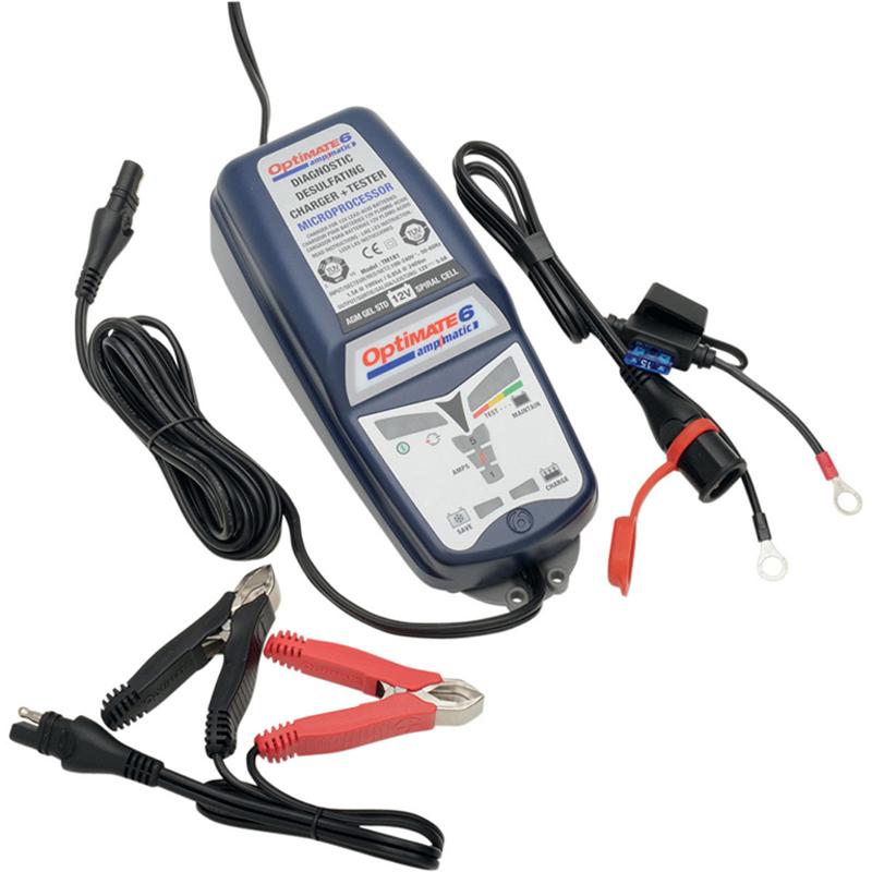 Зарядное устройство OptiMate 6. TM180SAETM180SAEМногоступенчатое зарядное устройство Optimate от бельгийской компании TecMate с режимами тестирования, восстановления глубокоразряженных аккумуляторных батарей, десульфатации и хранения. Управление полностью автоматическое без кнопок. Заряжает все типы 12В свинцово-кислотных аккумуляторных батарей, в т.ч. AGM, GEL. Защита от короткого замыкания, переполюсовки, искрообразования, перегрева. Оптимизирует срок службы и здоровье аккумуляторной батареи. Влагозащищенный корпус. Рекомендовано 10-ю ведущими производителями мототехники. Optimate 6 рекомендуется для АКБ до 240 Ач. Ток заряда: 0,4-5,0А. Старт зарядки АКБ от 0,5В. Температурный режим: -40...+40°С. В комплект устройства входят аксессуары: O11 кольцевой разъем постоянного подключения и O4 зажимы типа крокодил.