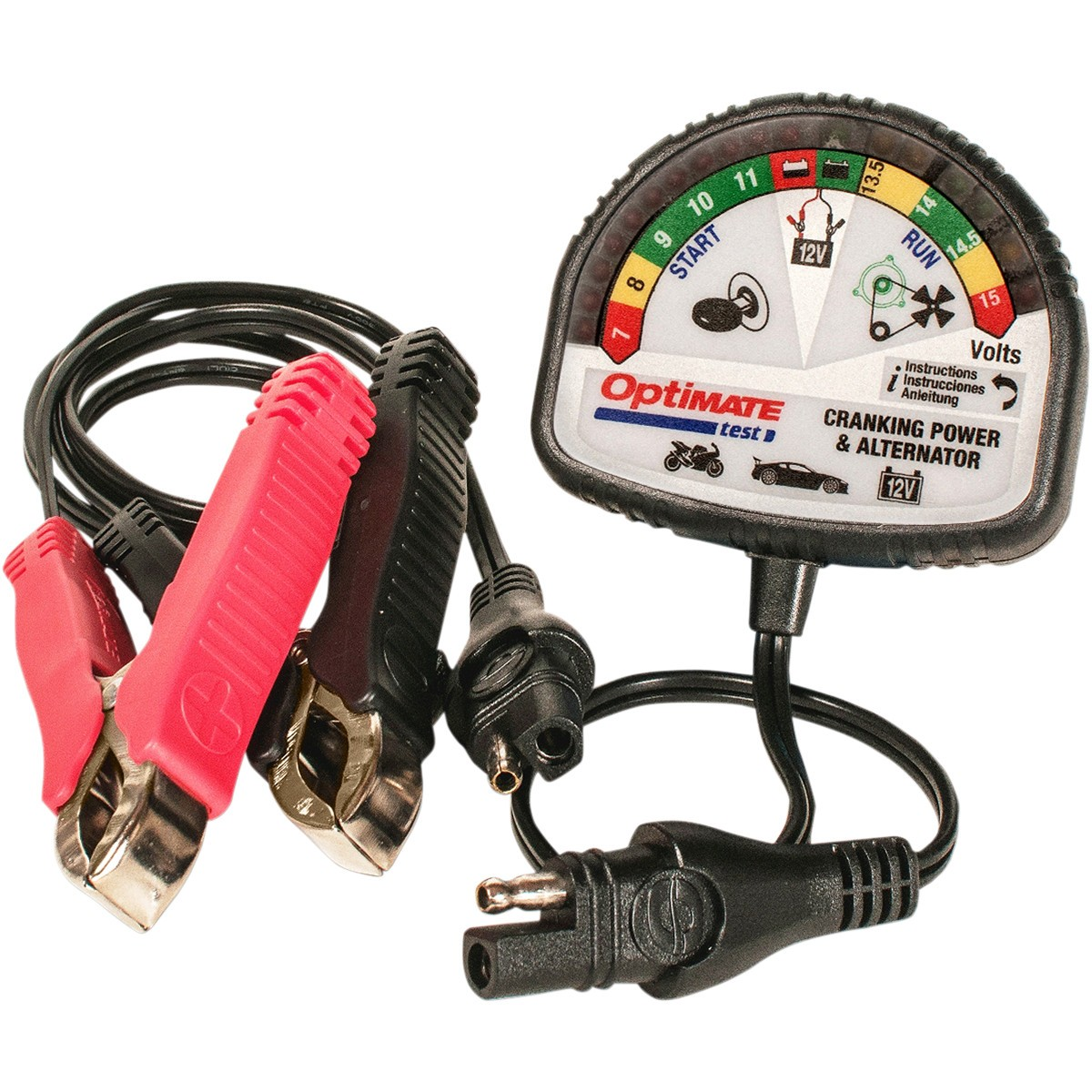 Тестер аккумуляторных батарей OptiMate Test. TS120TS120Простейшее и информативное устройство OptiMate Test предназначено для проверки работоспособности аккумуляторных батарей и генератора на любом транспортном средстве: автомобилях, мотоциклах, скутерах и т.д.