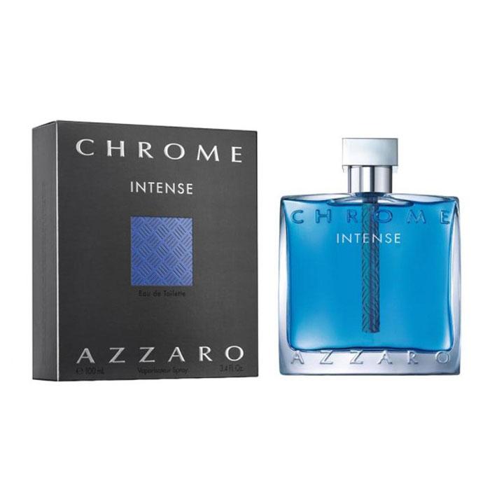 Azzaro Chrome Туалетная вода Intense, мужская, 100 мл13969Ароматические, фужерные. Амбра, бобы тонка, бренди, ветивер, корица.