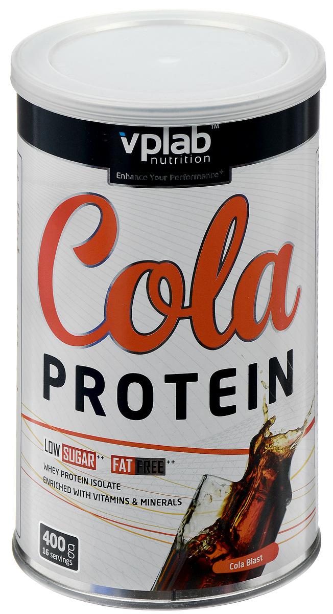 Протеин VP Laboratory Кола Протеин, 400 гPB00911-02VP Laboratory Кола Протеин - порошок для приготовления высокопротеинового напитка с восхитительным и нестандартным для протеинового продукта вкусом колы. Изолят сывороточного протеина, обогащенный 15 витаминами и минералами, необходимыми для активного образа жизни. Напиток также содержит низкое количество сахара и жиров и будет отличным дополнением к правильному и здоровому питанию. Рекомендуется принимать его между основными приемами пищи для увеличения в организме белка и витаминов, а также после силовой тренировки для сохранения либо более быстрого увеличения мышечной массы.Рекомендации по применению:До 3 порций в день.Рекомендации по приготовлению:Размешать 25 г порошка (2 мерные ложки) в 200 мл воды. При приготовлении рекомендуется сильно не взбалтывать - продукт пенится. Данный продукт очень легко размешивается при минимальных усилиях.Состав: изолят сывороточного протеина (из молока) (содержит эмульгатор: соевый лецитин), регуляторы кислотности (лимонная кислота, бикарбонат калия), полидекстроза, фруктоза, краситель (E150c), натуральный ароматизатор, витамины (витамин С(аскорбиновая кислота), витамин В3 (ниацинамид), витамин Е (DL- альфа токоферол), витамин В5 (пантотеновая кислота), витамин В6 (пиридоксин), витамин В2 (рибофлавин), витамин В1 (тиамин), витамин А (ретинол), витамин В9 (фолиевая кислота), биотин, витамин В12 (цианокобаламин), мальтодекстрин, подсластители (сукралоза, ацесульфам К).Товар сертифицирован.Как повысить эффективность тренировок с помощью спортивного питания? Статья OZON Гид