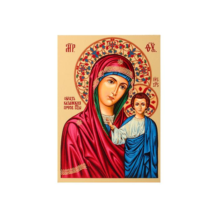 Икона Артола Казанская, 9 см х 12,5 см х 2 см православная икона