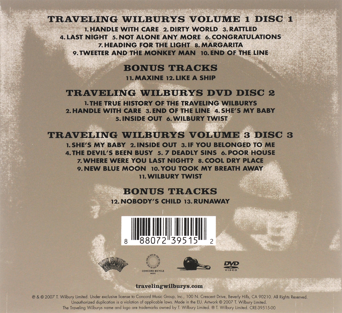 The Traveling Wilburys.  Collection (2 CD + DVD) ООО
