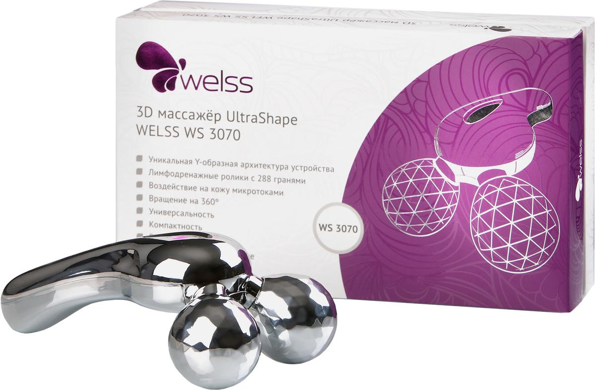 3D массажер UltraShape WELSS WS 3070WS 3070Роликовый массажер Стройный силуэт.Этот 3D массажер со специально разработанными лимфодренажными роликами поможет Вам в создании своего силуэта, ролики легко вращаются на 360 градусов, создавая при этом щипковый эффект, применяемый профессиональными массажистами. Меняя угол наклона Вы можете усилить этот эффект или сделать его более мягким. Улучшается кровоток, лимфоток, разбиваются лишние жировые накопления в подкожном слое, выводится лишняя жидкость из организма, появляется тонус во всем организме.Применяя этот массажер ежедневно вы увидите желаемый результат в кратчайшие сроки.Y-образная архитектура устройства, лимфодренажные ролики с 288 гранями, вращение на 360о дают возможность ежедневно в домашних условиях проводить любые процедуры от расслабляющего массажа до серьезных лифтинг-процедур.