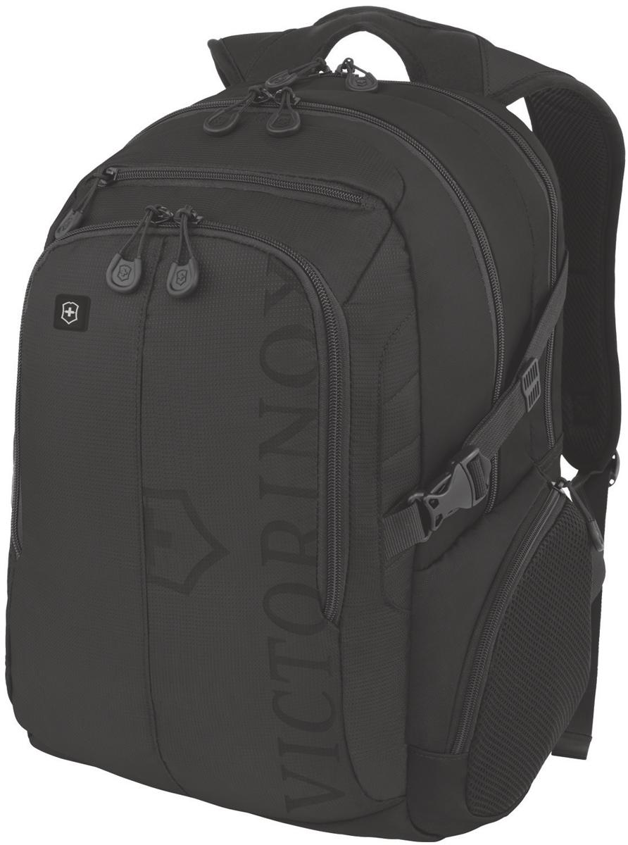 Рюкзак Victorinox VX Sport Pilot, цвет: черный, 30 л. 31105201 + ПОДАРОК: нож-брелок Escort31105201Коллекция VX Sport сочетает в себе культовый дизайн и прочную конструкцию. Основанные на многогранной функциональности, которая присуща оригинальному швейцарскому ножу, рюкзаки этой коллекции обеспечивают защиту современным технологическим устройствам и многофункциональную организацию вещей таким образом, что вы будете готовы к любой ситуации. Коллекция VX Sport обеспечит длительный комфорт и долговечность. Прототип модели прошел целых 30 основательных и строгих испытаний, в ходе которых проводилась симуляция самых экстремальных сценариев и условий внешней среды, возможных в реальной жизни. Жесткий режим проводимых тестов гарантирует точность, прочность и износоустойчивость, т. е. все признаки высокого качества и эксплуатационных характеристик, которые покупатель ожидает от продукции Victorinox. Далее каждое изделие проходит тщательный контроль сертифицированным техническим специалистом. Характеристики и свойства: Мягкое отделение для ноутбука диагональю 16 (41см) с гладкой, устойчивой к механическим повреждениям подкладкой; Мягкий карман для портативного электронного устройства диагональю 10 (25 см) с гладкой, устойчивой к механическим повреждениям подкладкой;Внешняя организационная секция включает в себя карман на молнии по всей длине, карман для хранения электроники, карман для хранения периферийных устройств, сетчатый карман для документов, удостоверяющих личность, петлю для ручки и карабин для ключей;Фронтальная сторона включает в себя два внешних кармана на молнии и многофункциональные боковые карманы на молнии;Мягкие регулируемые плечевые ремни; Мягкая задняя стенка с продуваемыми воздушными каналами обеспечивает максимальный комфорт, предотвращая запотевание спины;Задний рукав для продевания через телескопическую ручку чемоданов позволяет одновременно перемещать два и более предметов багажа.В подарок к рюкзаку Victorinox Escort 0.6123 - карманный швейцарский но