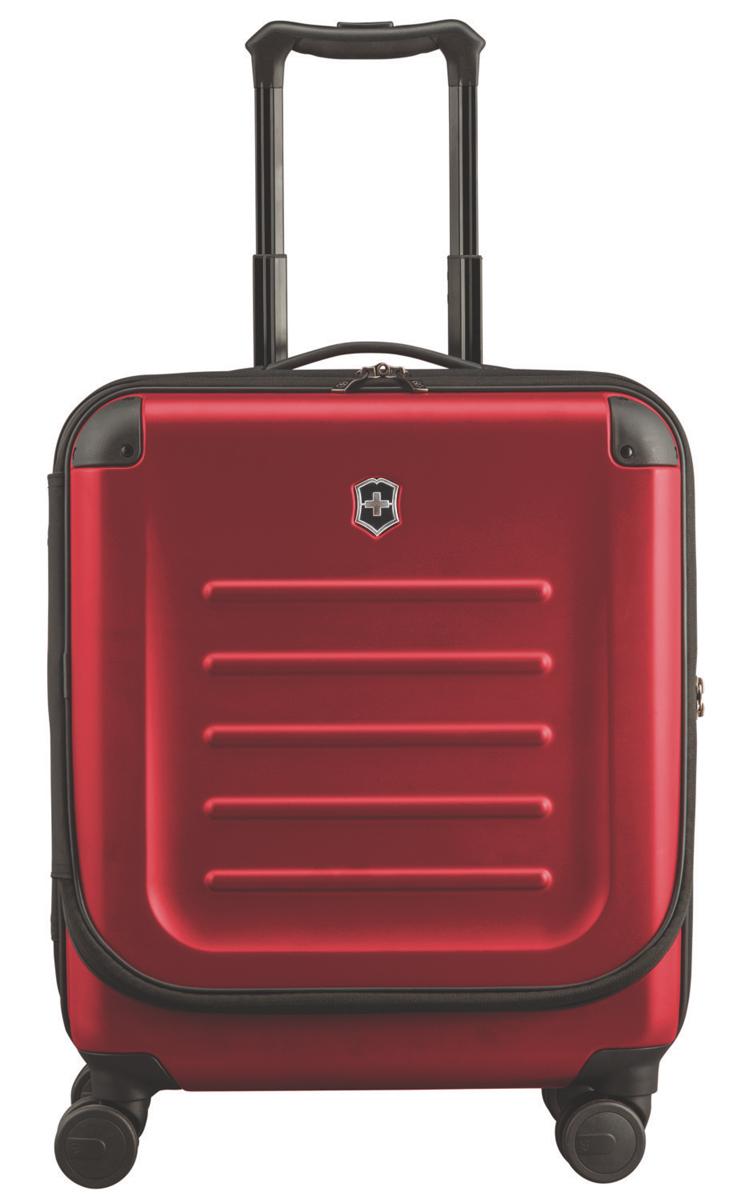 Чемодан Victorinox Spectra Dual-Access 2.0, 37 л, цвет: красный. 31318103 + ПОДАРОК: Нож Tinker31318103Чемодан Victorinox Spectra Dual-Access 2.0 выполнен из выполнен из ударопрочного поликарбоната Bayer. удобный чемодан со специальной дверцей для быстрого доступа к наиболее необходимым в путешествии вещам, идеально подходит для коротких поездок и отвечает большинству международных требований для ручной клади, включая требования Международной ассоциации воздушного транспорта IATAЛицевая дверца чемодана на молнии с организационной секцией дает возможность буквально на ходу получить доступ к наиболее необходимым в путешествии вещам, например, к ноутбуку с диагональю до 15. 6 (40 см), планшету, смартфону, паспорту, билетам и другим вещамКонструкция чемодана с двойным доступом позволяет упаковывать вещи с двух сторон: через переднюю крышку или, открыв основное Отделение.Удобная ручка для переноски, двойная алюминиевая телескопическая ручка, фиксирующаяся в трех разных позициях: 104 см, 99 см и 94 см для удобства путешественников с разным ростом. Двойные колеса обеспечивают мягкий ход чемодана и гарантируют свободное перемещение по любой поверхности, сохраняя при этом 360° маневренность и минимальный вес чемодана.Ударопрочный 100% поликарбонат Bayer, со стильной, устойчивой к царапинам матовой поверхностью обеспечивает повышенную жесткость, сохраняя высокий уровень функциональности.Защитные угловые кожухи.Сетчатая разделительная стенка на молнии растягивается для удобства упаковки.