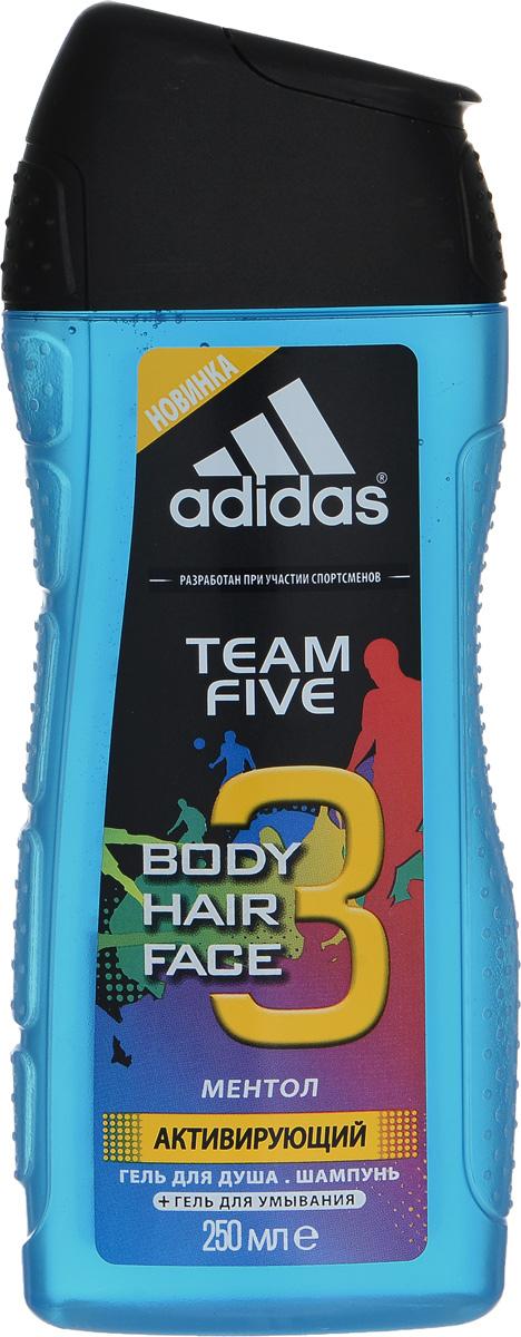 Adidas Гель для душа для тела и волос Team Five Hair&Body Shower Gel, мужской, 250 мл hempz гель для душа тройное увлажнение triple moisture herbal body wash 250 мл