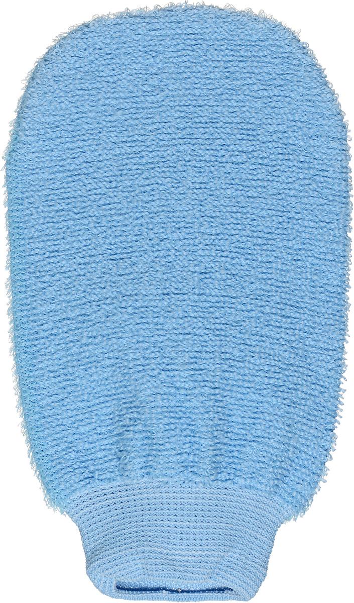 Riffi Мочалка-рукавица, массажная, двухсторонняя, цвет: голубой