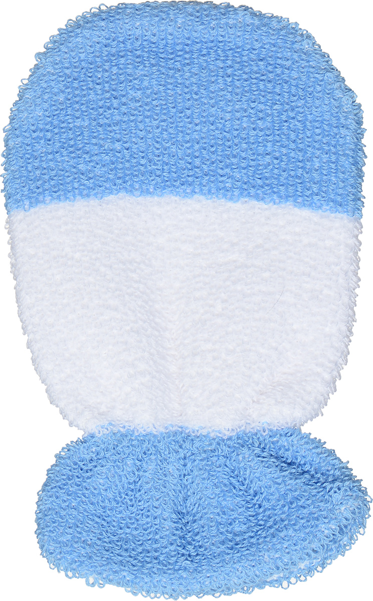 Riffi Мочалка-рукавица детская, цвет: белый, голубой