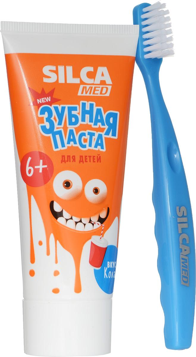 Silca Med Зубная паста детская со вкусом колы + Зубная щетка с 6 лет цвет голубой600033_голубойЗубная паста Silca Med подойдет для детей с начавшейся заменой молочных зубов. Активный кальций укрепляет эмаль, а фтор надежно защищает от кариеса. Липа и ромашка снижают дискомфорт десен, мягко ухаживают за полостью рта.Зубная щетка с головкой оптимальной формы идеально подходит для детей с 2 лет. Щетина изготовлена из высококачественного волокнаи имеет специальные закругления на концах, чтобы не травмировать десны ребенка. Эргономичная ручка с волнистой поверхностью обеспечит надежную фиксацию пальчиков.Товар сертифицирован.