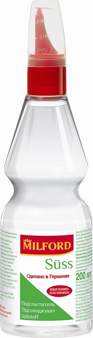 Milford Suss подсластитель жидкий, 200 млнаа104Подсластители Milford Suss одними из первых появились на российском рынке сахарозаменителей и уже успели приобрести широкий круг поклонников. Сегодня подсластители Milford Suss - это лидеры рынка сахарозаменителей. Продукт производится в Германии при постоянном контроле качества. Все производственные процессы соответствуют предписаниям европейского законодательства и отвечают стандартам в области продуктов питания.Подсластители Milford Suss выпускаются в таблетках и в жидком виде. При использовании жидкого подсластителя 1 чайная ложка = 4 столовым ложкам сахара. Точные дозировки и суточные нормы потребления указаны на этикетке. Milford Suss в жидком виде используется в домашней кулинарии при варке варенья, джемов, компотов, для приготовления десертов, в выпечке. Основную линейку подсластителей Milford Suss составляют продукты на основе смеси цикламата и сахарина.Уважаемые клиенты! Обращаем ваше внимание, что полный перечень состава продукта представлен на дополнительном изображении.