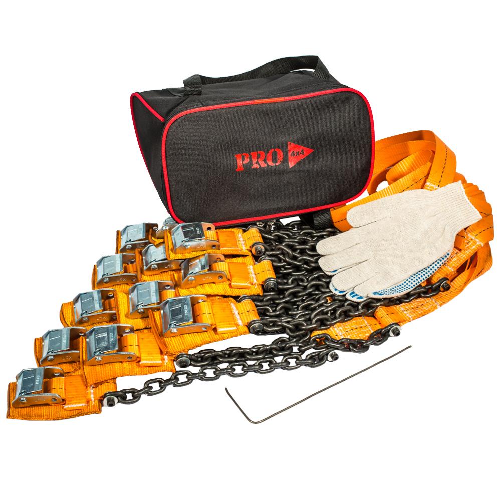 Браслеты противоскольжения PRO-4x4 Heavy, для внедорожника, 12 штPRO-BPS-000312Браслеты противоскольжения будут незаменимыми помощниками во время выездов на природу, на охоту или рыбалку, поездок в деревню и на дачу.Технические характеристики браслетов PRO-4х4: Размер шин: от 205/55 до 285/85 Размер диска (радиус): от R15 до R21Вес: 2.94 кг.Длина браслета: 111 см.Длина ленты: 68 см. Ширина ленты: 3.5 см.Длина цепи: 31.5 см. Толщина цепи: 6 мм. Защита диска: спец. накладкаПрименяется для а/м массой до 5000 кг.