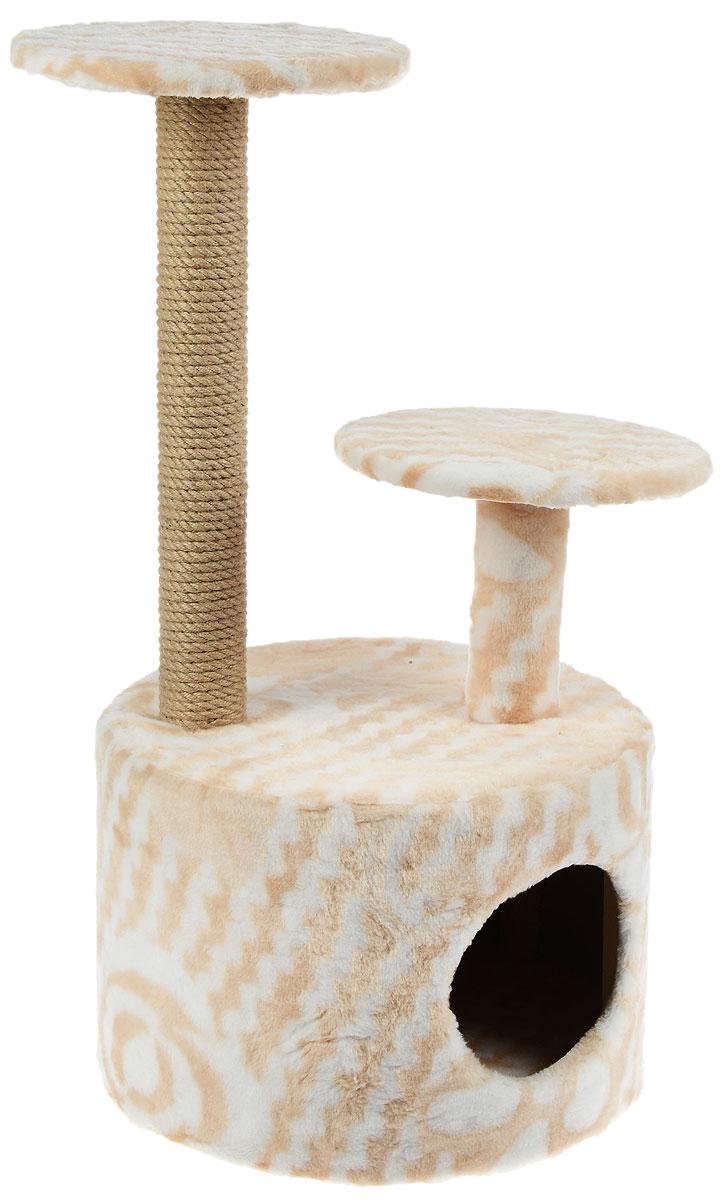 Игровой комплекс для кошек Меридиан, с когтеточкой и двумя полками, цвет: белый, бежевый, 40 х 40 х 81 см цена
