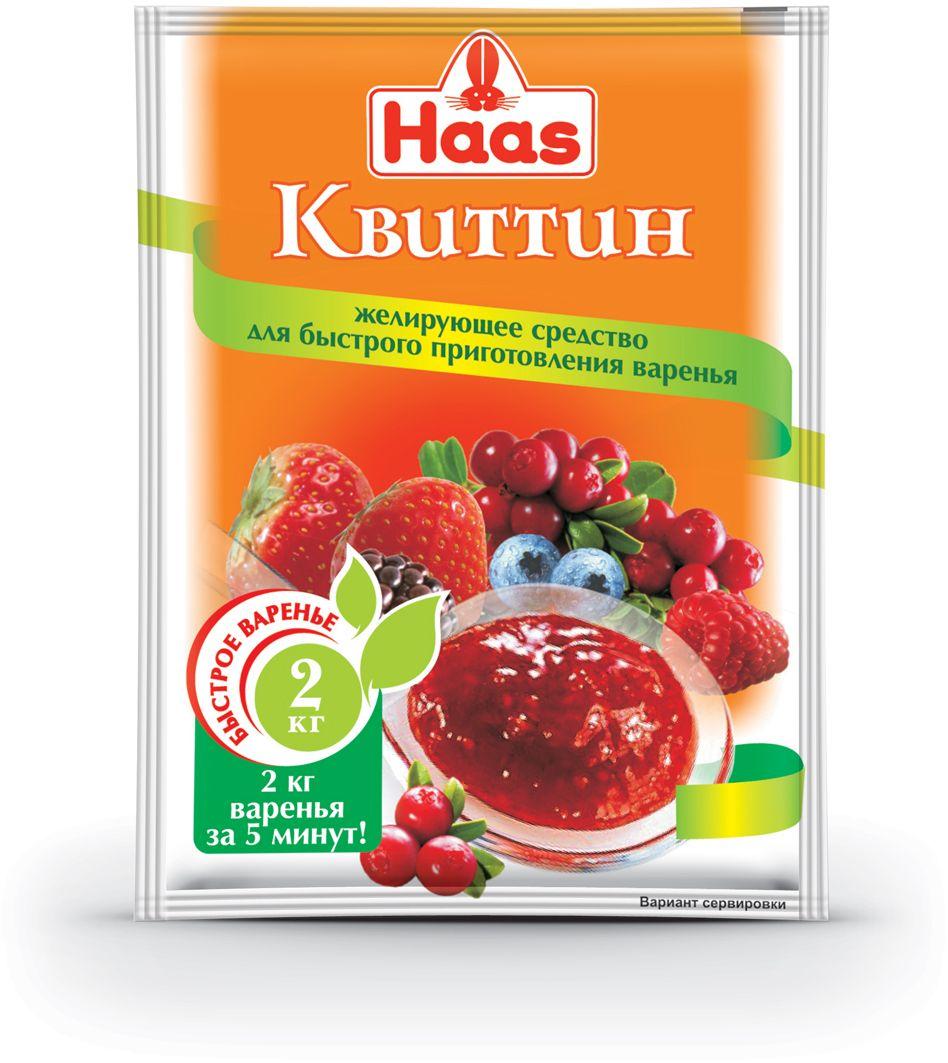 Haas квиттин, 20 г223010Благодаря высокому содержанию пектина Квиттин Хаас имеет большую желирующую способность, что сокращает время варки варенья до 5 минут (вместо нескольких часов), что тем самым экономит ваше драгоценное время и силы! Благодаря короткому времени варки сохраняется аромат и вкус свежих фруктов, а также все витамины. Ваше варенье будет не только вкусным, но и полезным! 1 пакетик Квиттина Хаас на 1 кг фруктов + 1 кг сахара (исключение: вишня и черешня - здесь требуется 2 пакетика Квиттина на 1 кг фруктов + 1,2 кг сахара). С одним пакетиком Квиттина вы сварите 2 кг варенья! Также можно приготовить джем и мармелад.