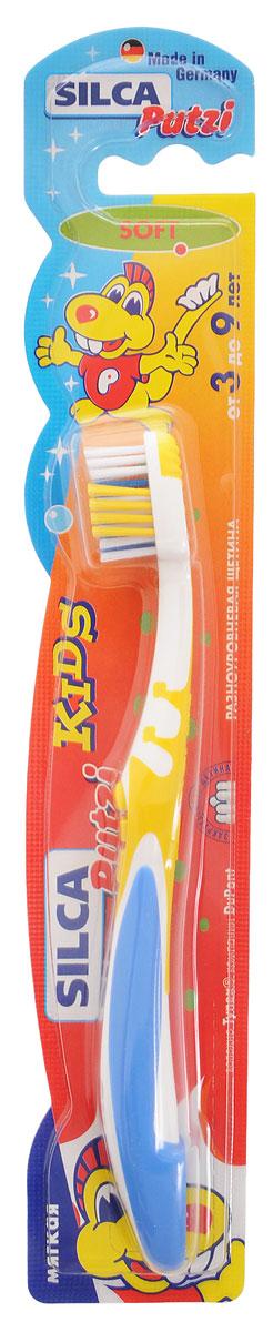 Silca Putzi Зубная щетка Kids от 3 до 9 лет цвет желтый синий161_желтый, синийЗубная щетка Silca Putzi Kids предназначена для детей от 3 до 9 лет. Маленькая головка с мягкой разноуровневой щетиной и широкой мягкой окантовкой обеспечивает особо бережный уход за зубами. Абсолютно закругленная щетина не травмирует чувствительные десны ребенка. При производстве щетины используется высококачественное волокно Tynex компании DuPont. Удобная двухкомпонентная ручка с нескользящим покрытием, упором для большого пальца и мягким закругленным кончиком обеспечит чувство комфорта во время использования.