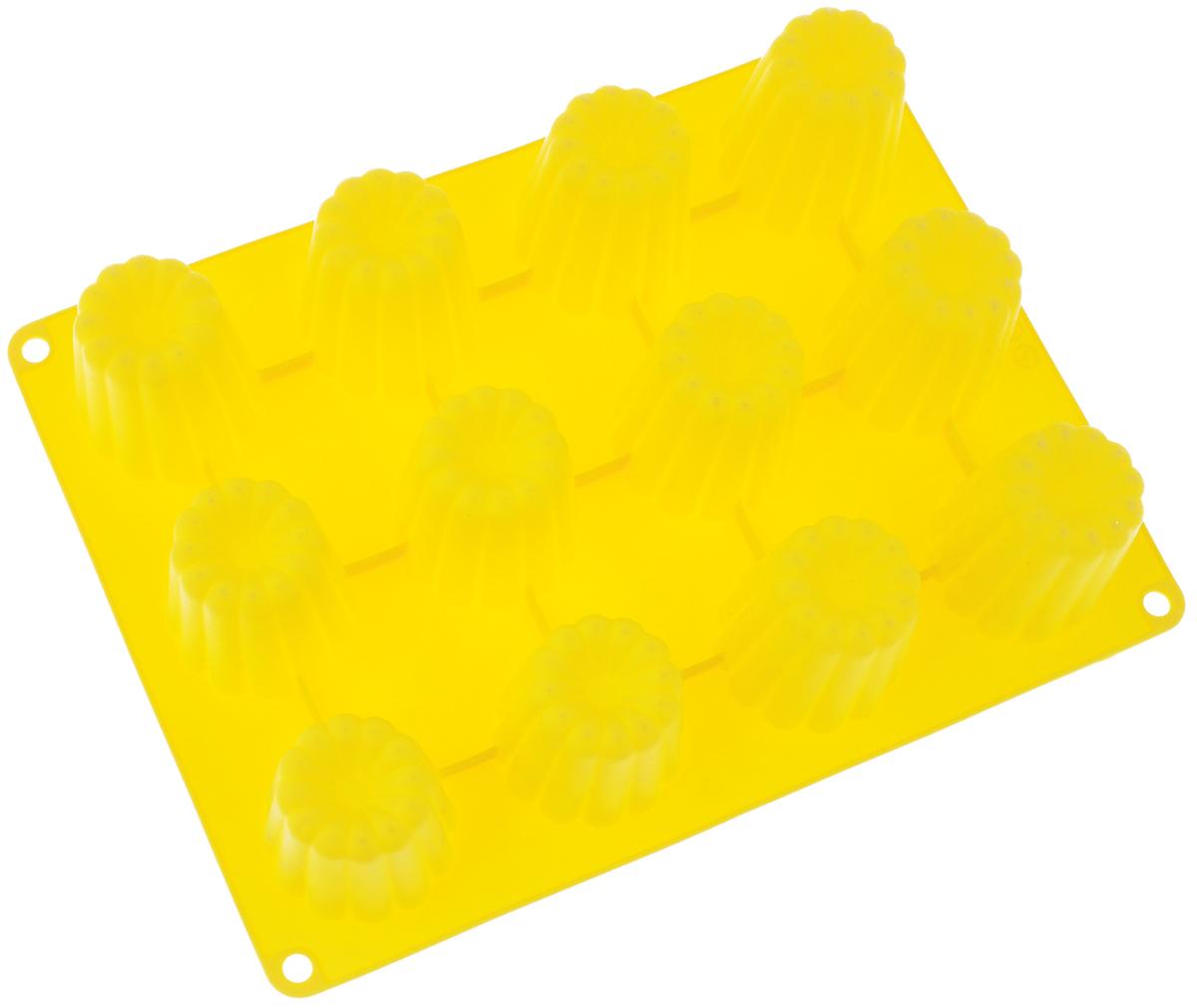 Форма для выпечки Taller Кекс, цвет: желтый, 12 ячеекTR-6211_желтыйФорма для выпечки Taller Кекс изготовлена из высококачественного силикона. Изделия из силикона выдерживают температуру от -20°С до +220°С, очень удобны в использовании: пища в них не пригорает и неприлипает к стенкам, форма легко моется. Форма обладает эластичными свойствами: складывается без изломов, восстанавливает свою первоначальную форму.Форма содержит 12 одинаковых ячеек. Порадуйте своих родных и близких любимой выпечкой в необычном исполнении.Подходит для приготовления в микроволновой печи и духовом шкафу при нагревании до +220°С; для замораживания до -20°С и чистки в посудомоечноймашине.Размер формы: 29 х 22 см. Размер ячейки: 5,2 х 5,2 см. Высота стенок: 5 см. Количество ячеек: 12 шт.