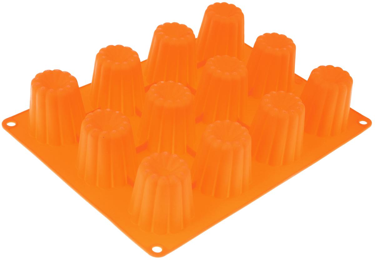 Форма для выпечки Taller Кекс, цвет: оранжевый, 12 ячеекTR-6211_оранжевыйФорма для выпечки Taller Кекс изготовлена из высококачественного силикона. Изделия из силикона выдерживают температуру от -40°С до +230°С, очень удобны в использовании: пища в них не пригорает и не прилипает к стенкам, форма легко моется. Форма обладает эластичными свойствами: складывается без изломов, восстанавливает свою первоначальную форму.Форма содержит 12 одинаковых ячеек. Порадуйте своих родных и близких любимой выпечкой в необычном исполнении.Можно использовать в микроволновой печи, духовом шкафу, морозильной камере. Можно мыть в посудомоечной машине.Размер формы: 29 х 22 см. Диаметр ячейки: 5,5 см. Глубина ячейки: 5 см. Количество ячеек: 12 шт.
