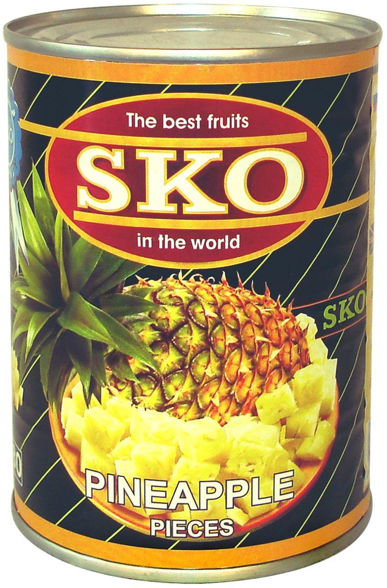 SKO Ананасы кусочками в сиропе, 565 г lorado персики половинки в легком сиропе 850 мл