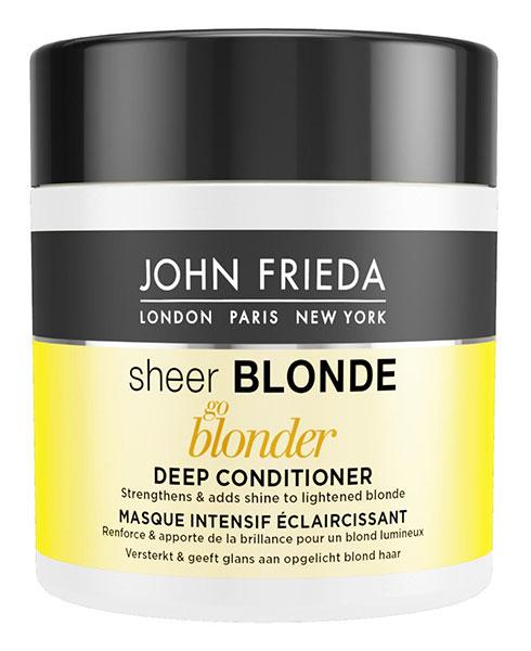 John Frieda Осветляющая маска для волос, 150 мл0264Укрепляет и придает блеск осветленным волосам. Восстановите силу и придайте блеск своим волосам. Маска для светлых волос Sheer Blonde Go Blonder, с цитрусом и ромашкой, интенсивно увлажняет изнутри и защищает осветленные волосы. Применение: Начните с использования Sheer Blonde Go Blonder осветляющего шампуня. Нанесите маску на влажные волосы и оставьте на 3-5 минут. Затем тщательно смойте.