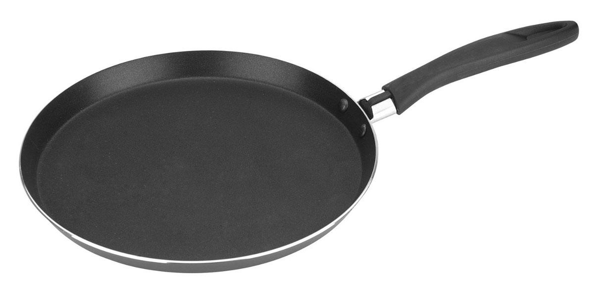 Сковорода для блинов Tescoma Presto, с антипригарным покрытием. Диаметр 25 см594225Сковорода Tescoma Presto изготовлена из нержавеющей стали с качественным антипригарным покрытием, которое препятствует пригоранию. Отличные антипригарные свойства покрытия позволяют готовить практически без масла, что делает ваши блюда менее жирными и калорийными. Идеально плоская поверхность с низкой кромкой подходит для приготовления блинчиков и яичницы. Эргономичная ручка изготовлена из прочного пластика. Подходит для электрических и газовых видов плит, кроме индукционных. Диаметр сковороды по верхнему краю: 25 см.Простой рецепт блинов на Масленицу – статья на OZON Гид.