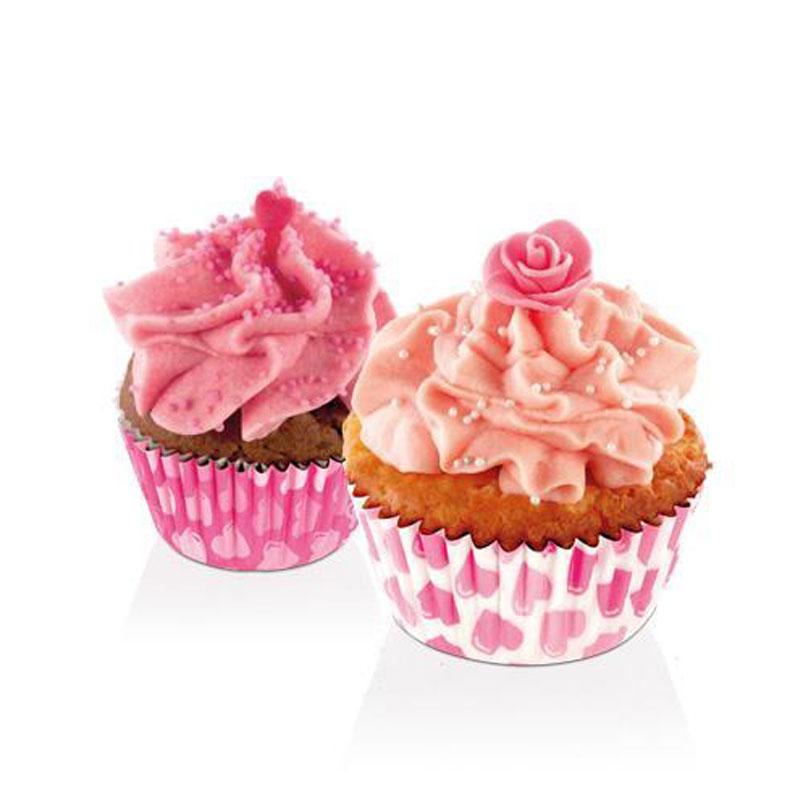 """Замечательные бумажные корзиночки Tescoma """"Delicia.  Сердца"""" прекрасно подходят для приготовления кексов.  Привлекательный романтический мотив порадует всех  влюбленных не только в день святого Валентина. Диаметр: 4 см.  Высота: 2,5 см."""