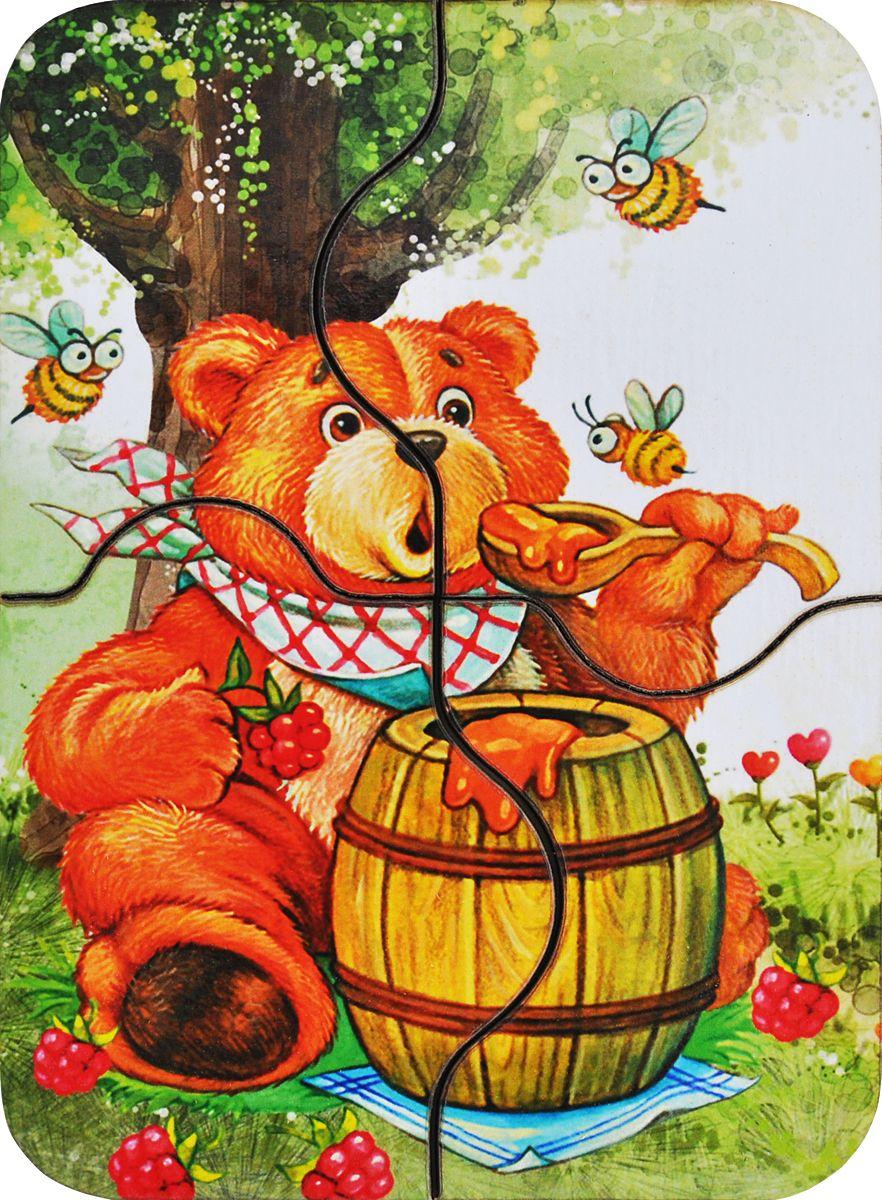 Фабрика Мастер игрушек Пазл для малышей Медвежонок и мед деревянные игрушки фабрика мастер игрушек настольный театр цирк