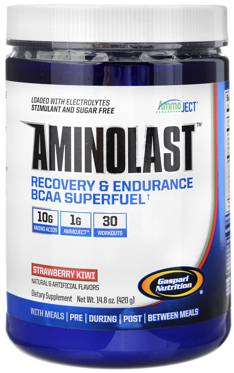 ВСАА с расширенной матрицей Gaspari Nutrition Aminolast, клубника-киви, 420 гG8434ВСАА с расширенной матрицей Gaspari Nutrition Aminolast ускоряет восстановление и снижает болезненность в мышцах, содержит 10 грамм качественных аминокислот в порции, восполняет потерю электролитов. Одна банка рассчитана на 30 тренировок. Аминокислотный препарат обладает великолепным вкусом и открывает новую страницу в истории спортивного питания. Aminolast поможет вам добиться поставленных целей. Взяв только лучшие ингредиенты и ни грамма искусственных красителей, Gaspari Nutrition создали превосходное супертопливо из ВСАА для восстановления и выносливости.Вы тренируетесь на пределе человеческих возможностей, и мышцам приходится за это расплачиваться. Aminolast с фирменной технологией Ammoject является единственным препаратом, который обеспечивает организм высокими дозировками аминокислот ВСАА, обогащенными лейцином, полипептидными молекулами, противосудорожными электролитами и матрицей Ammoject, которая помогает вашим мышцам избавляться от вызывающих чувство усталости продуктов метаболизма. Более того, для тренировки достаточно одной порции, вам не понадобятся мега-дозы, единственным эффектом которых станет осязаемая пустота в вашем бумажнике. Эффект от приема мгновенный. Aminolast начинает работать сразу после приема первой порции, когда точно рассчитанные дозы аминокислот и электролитов достигают интенсивно работающих мышц. При соблюдении режима дозирования Aminolast обеспечивает уменьшение болезненности и повышение степени гидратации.Aminolast разрабатывался более 24 месяцев. За это время эффективность дозировок была подтверждена множеством клинических испытаний на людях. Aminolast отлично дополнит любой другой продукт, такой как термодженик Detonate или препарат для повышения производительности Glycofuse. Вы можете смешать его с вашим любимым ванильным протеиновым коктейлем из серии Probiotic или с Isofusion для получения незабываемого фруктового аромата заряженного протеином кок