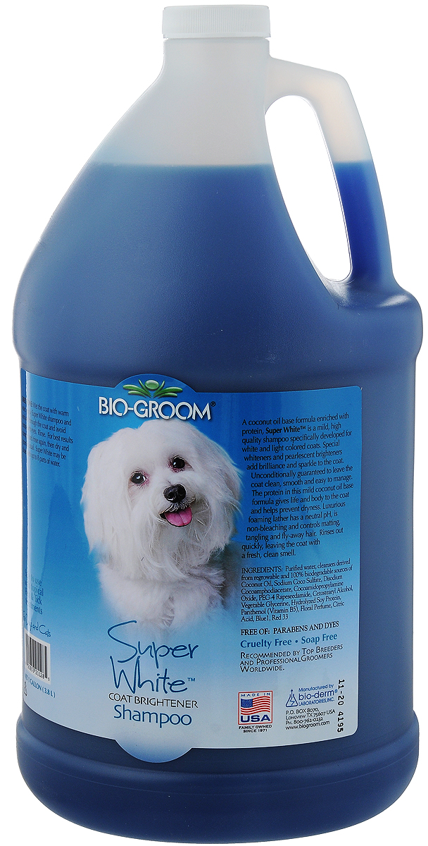 Шампунь Bio-Groom Super White, для собак и кошек, супербелый, 3,8 л капли bio groom ear mite treatment от ушного клеща для кошек и собак 30мл 14001