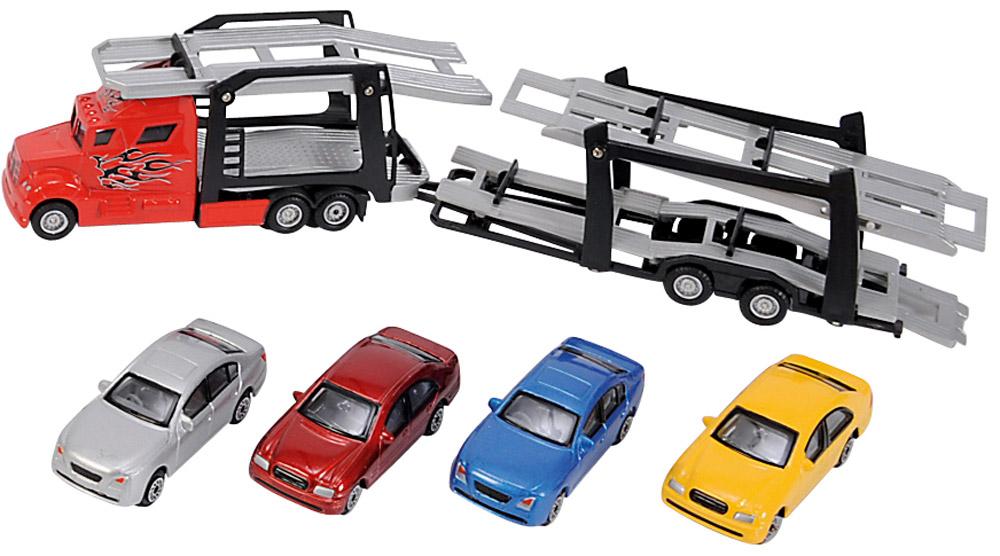 Dickie Toys Набор машинок Car Trailer 5 шт dickie toys dickie toys радиоуправляемые машинки макс шнель 18 см серебристый