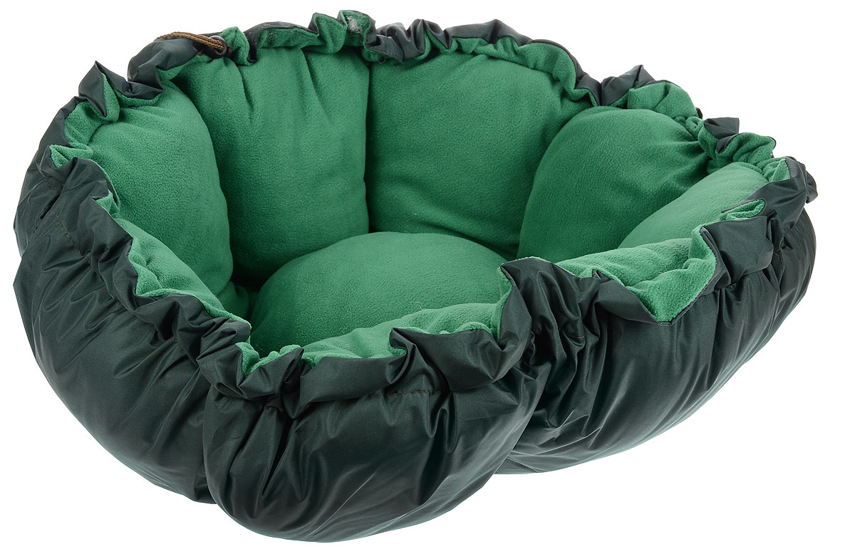 Лежак для животных ЗооМарк Тыква, цвет: темно-зеленый, диаметр 90 см4177_темно-зеленый, зеленыйЛежак ЗооМарк Тыква, выполненный из текстиля, обязательно понравится вашему питомцу. Он очень удобный и уютный. Ваш любимец сразу же захочет забраться на лежак, там он сможет отдохнуть и подремать в свое удовольствие. Приятная цветовая гамма сделает изделие оригинальным дополнением к любому интерьеру. С помощью затягивающегося шнурка вы можете сделать у лежака бортики.Диаметр лежака: 90 см.Высота: 10 см.