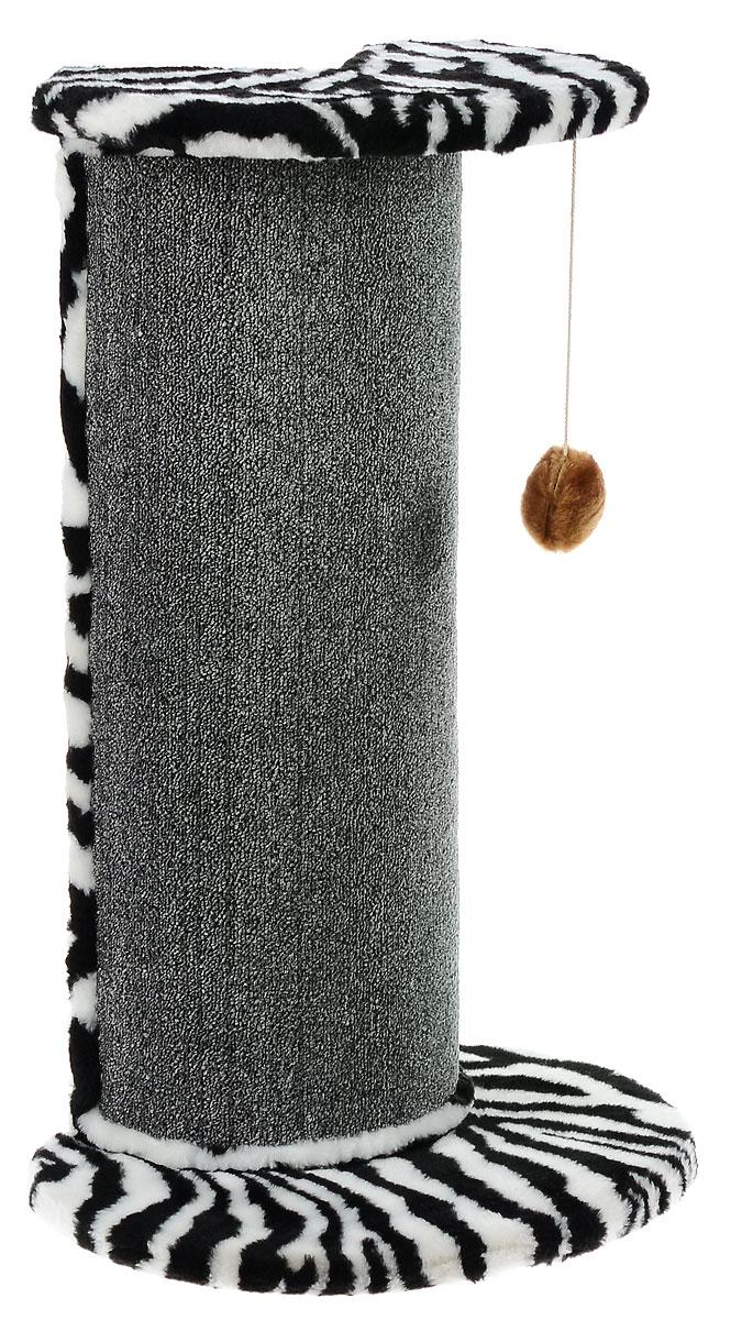 Когтеточка ЗооМарк, угловая, цвет: мех зебра, ковролин серый, 50 х 35 х 79 см126_зебра, серыйУгловая когтеточка ЗооМарк поможет сохранить мебель и ковры в доме от когтей вашего любимца, стремящегося удовлетворить свою естественную потребность точить когти. Когтеточка изготовлена из дерева, искусственного меха и ковролина. Товар продуман в мельчайших деталях и, несомненно, понравится вашей кошке. Сверху имеется игрушка, которая привлечет питомца.Всем кошкам необходимо стачивать когти. Когтеточка - один из самых необходимых аксессуаров для кошки. Для приучения к когтеточке можно натереть ее сухой валерьянкой или кошачьей мятой. Когтеточка поможет вашему любимцу стачивать когти и при этом не портить вашу мебель.