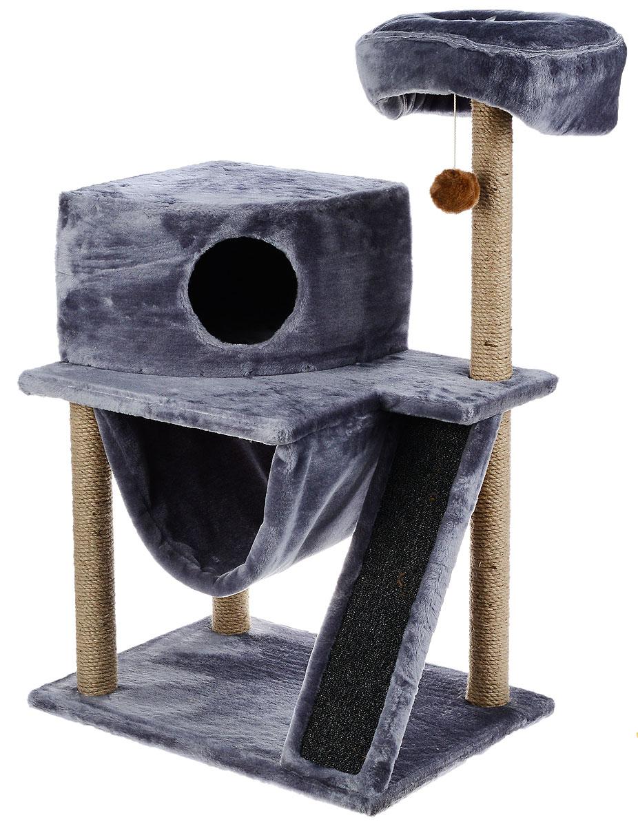Игровой комплекс для кошек ЗооМарк Мурка, цвет: серый, бежевый, 60 х 45 х 120 см125_серыйИгровой комплекс для кошек ЗооМарк Мурка выполнен из высококачественного дерева и обтянут искусственным мехом. Изделие предназначено для кошек. Комплекс имеет 3 яруса. Ваш домашний питомец будет с удовольствием точить когти о специальные столбики, изготовленные из джута. Также точить когти поможет площадка, оснащенная вставкой из ковролина. А отдохнуть он сможет либо на полках, либо домике или гамаке. На одной из полок расположена игрушка, которая еще сильнее привлечет внимание питомца.Общий размер: 60 х 45 х 120 см.Размер домика: 37 х 37 х 25 см.Диаметр верхней полки: 30 см.Уважаемые покупатели!Обращаем ваше внимание на тот факт, что размеры могут незначительно отличаться в пределах 3-4 см в высоту и ширину.