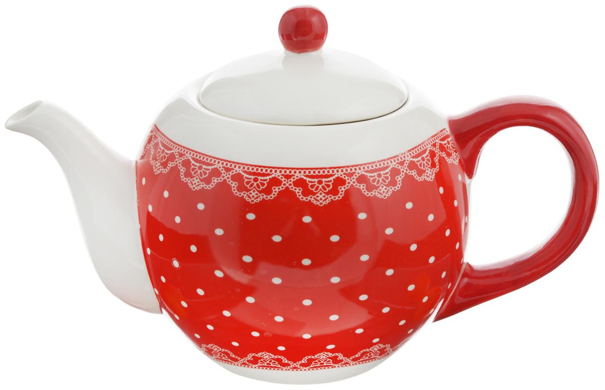 Чайник заварочный Loraine Красный узор, 950 мл. 2582025820Заварочный чайник Loraine изготовлен доломитовой керамики высокого качества. Изделие прекрасно подходит для заваривания вкусного иароматного чая, травяных настоев. Оригинальный дизайн сделает чайник настоящим украшениемстола. Он удобен в использовании и понравится каждому.Можно мыть в посудомоечной машине. Не боится низкихтемператур. Диаметр чайника (по верхнему краю): 8,5 см. Диаметр основания чайника: 7 см. Высота чайника (без учета крышки): 11,5 см. Высота чайника (с учётом крышки): 15,5 см.