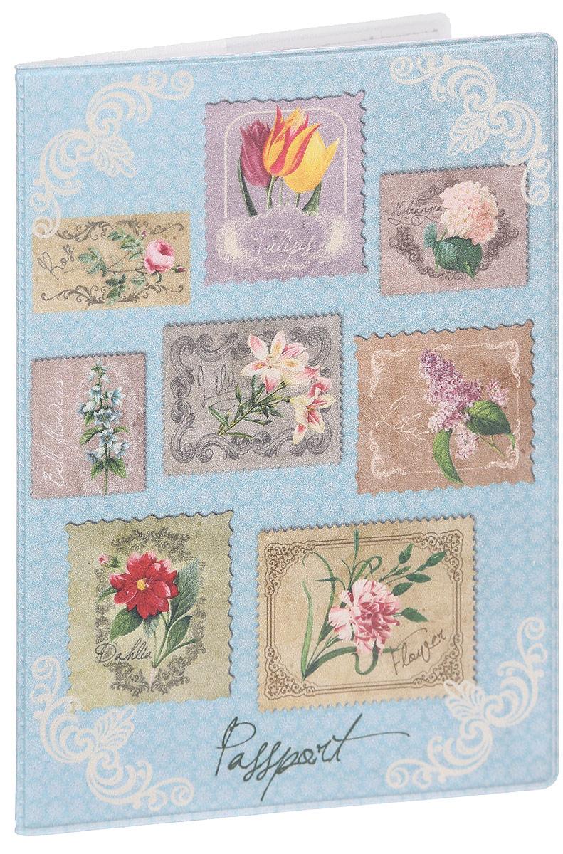 Обложка для паспорта женская Magic Home Цветочная коллекция, цвет: голубой, мультиколор. 4157641576Стильная обложка для паспорта Magic Home Цветочная коллекция выполнена из ПВХ, оформлена принтом в виде марок с изображением цветов.Внутри изделия расположены два прозрачных кармашка.Такая обложка станет отличным подарком для человека, который ценит качественные и практичные вещи.