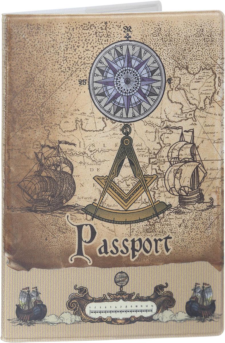 Обложка для паспорта Magic Home Вокруг света, цвет: коричневый. 4157941579Стильная обложка для паспорта Magic Home Вокруг света выполнена из поливинилхлорида, оформлена принтом в старинном стиле.Внутри изделия расположены два прозрачных кармашка из ПВХ.Такая обложка станет отличным подарком для человека, который ценит качественные и практичные вещи.