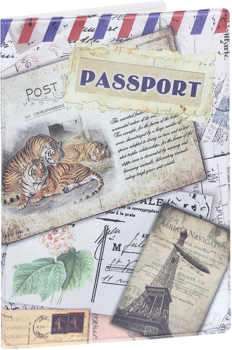 Обложка для паспорта Magic Home Тигры, цвет: бежевый. 4157541575Стильная обложка для паспорта Magic Home Тигры выполнена из поливинилхлорида, оформлена принтом с изображением старинных открыток.Внутри изделия расположены два прозрачных кармашка из ПВХ.Такая обложка станет отличным подарком для человека, который ценит качественные и практичные вещи.