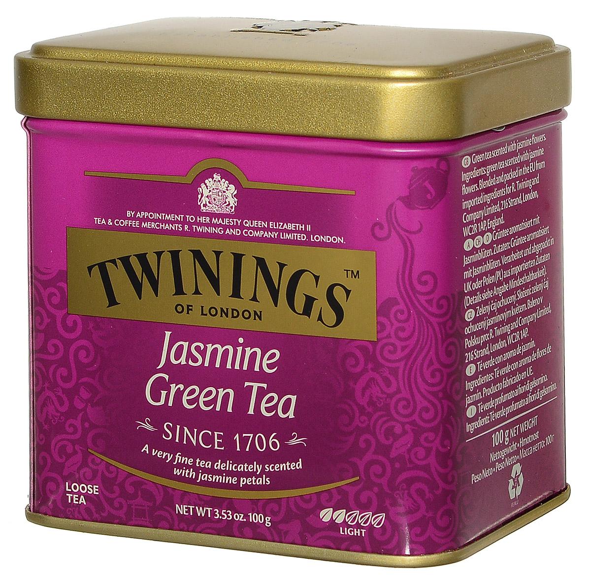 Twinings Jasmine Tea зеленый листовой чай с жасмином, 100 г (ж/б)070177029760Twinings Jasmine Tea - это смесь сортов зеленого чая с добавлением цветков жасмина, который способен доставить истинное наслаждение настоящим ценителям. При заваривании получается прозрачный напиток с экзотическим утонченным ароматом и нежным вкусом. Twinings Jasmine также обладает благотворным воздействием на пищеварительную и нервную систему.Всё о чае: сорта, факты, советы по выбору и употреблению. Статья OZON Гид